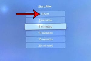 how to turn off the screen saver on Apple TV