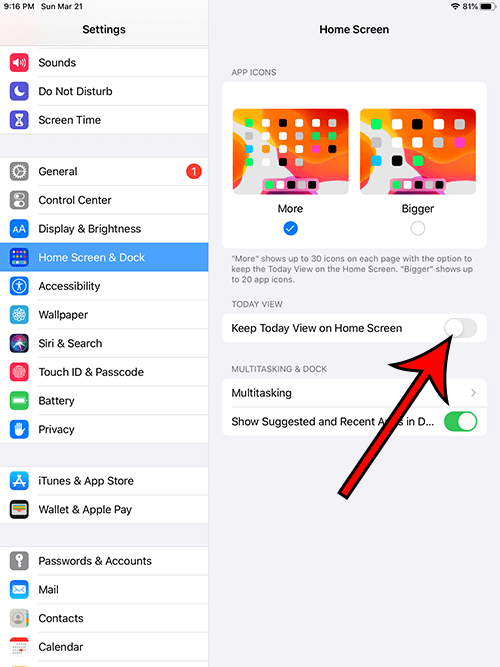 how to disable Today View on the iPad Home screen