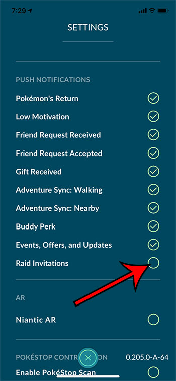 how to disable raid invitations in Pokemon Go on an iPhone
