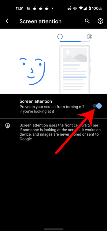 how to enable screen attention on a Google Pixel 4A
