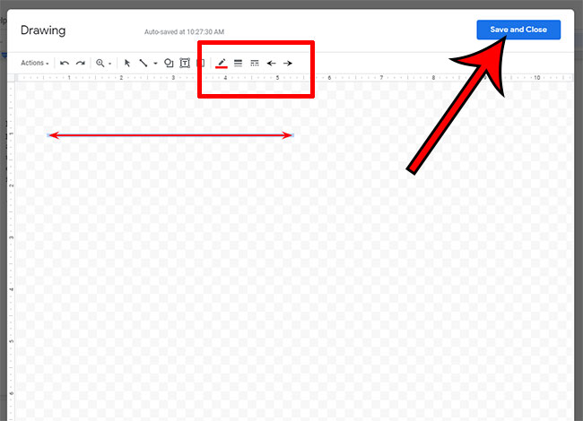 format the drawn horizontal line as needed