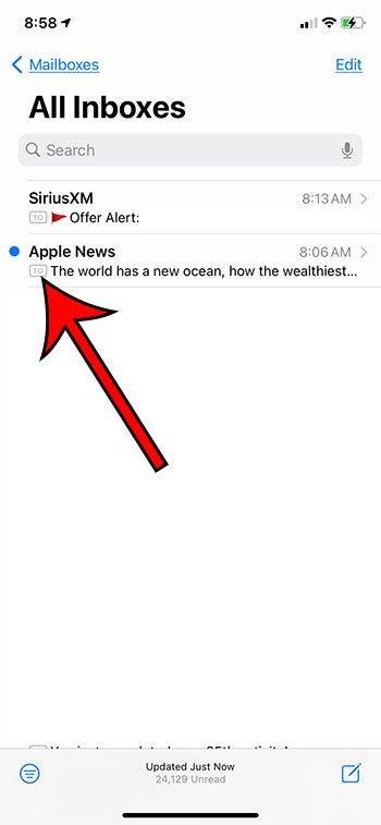 example of the to cc labels in mail on iPhone