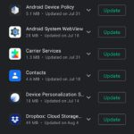 how to view and install app updates on the Google PIxel 4A